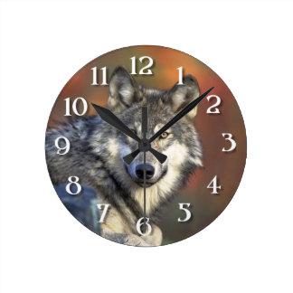 El lobo reloj redondo mediano