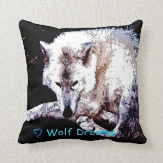 El lobo soña la almohada de tiro del arte de la cojín decorativo