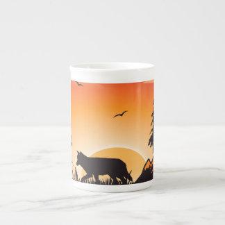 El lobo tazas de porcelana