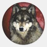 El lobo tranquilo etiqueta redonda