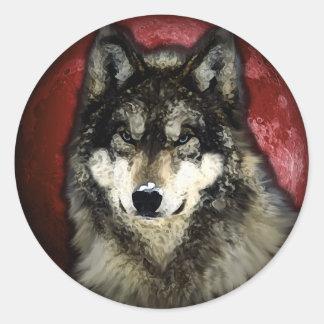 El lobo tranquilo pegatina redonda