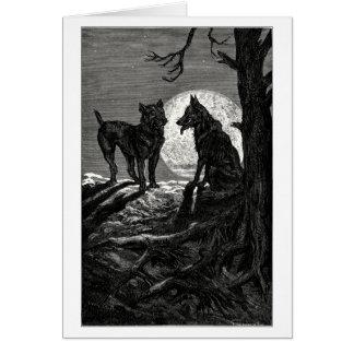 El lobo y el mastín tarjeta de felicitación