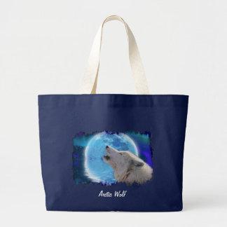 El lobo y la luna árticos del grito llevan el bolsa tela grande