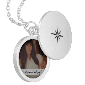 El Locket de plata personalizado ángel de la mamá Pendientes