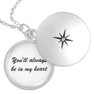 """El Locket de plata """"usted estará siempre en mi Pendiente"""