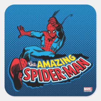 El logotipo asombroso de Spider-Man Pegatina Cuadrada