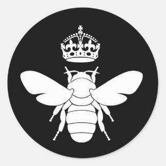 ¿El logotipo blanco de la abeja reina… es usted Pegatina Redonda