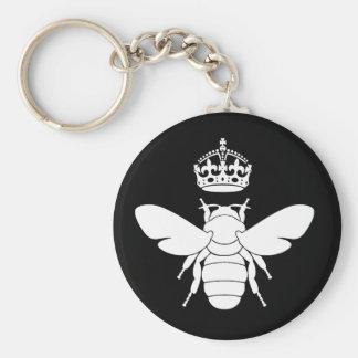 ¿El logotipo blanco de la abeja reina… es usted un Llavero Redondo Tipo Pin