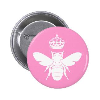 ¿El logotipo blanco de la abeja reina… es usted un Pin Redondo De 2 Pulgadas