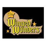 El logotipo con alas de las maravillas postal