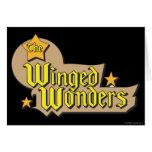 El logotipo con alas de las maravillas tarjeta de felicitación