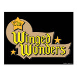 El logotipo con alas de las maravillas tarjetas postales