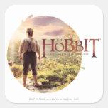 El logotipo de Hobbit con la parte posterior de Bi Calcomania Cuadradas