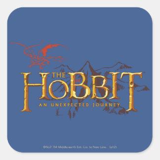 El logotipo de Hobbit sobre las montañas Calcomanías Cuadradass