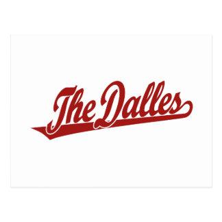 El logotipo de la escritura de Dalles en rojo Postales