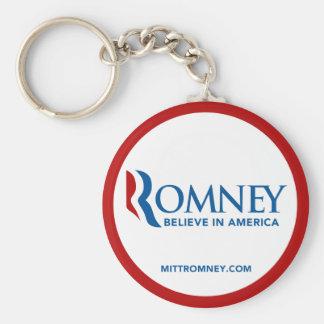 El logotipo de Mitt Romney cree en América (el cír Llavero Redondo Tipo Pin