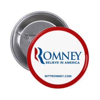 El logotipo de Mitt Romney cree en América (el cír Pin Redondo De 2 Pulgadas