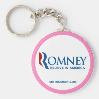 El logotipo de Mitt Romney cree en América (la fro Llavero Redondo Tipo Pin