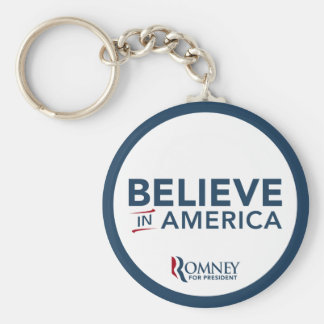 El logotipo de Mitt Romney cree en América Llavero Redondo Tipo Pin