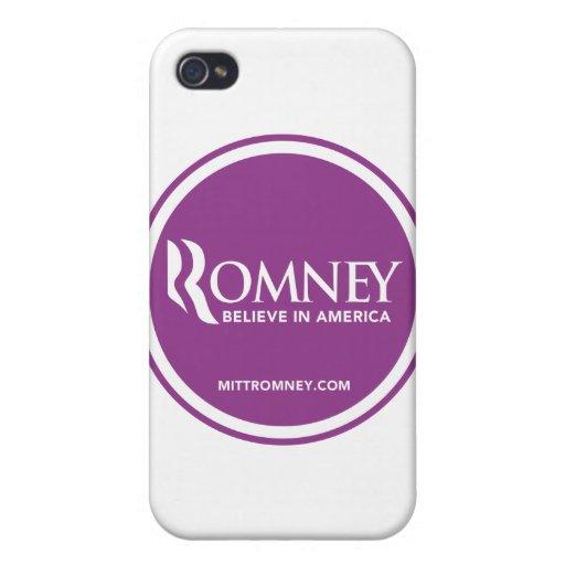 El logotipo de Mitt Romney cree en América (púrpur iPhone 4 Cobertura