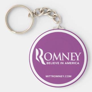 El logotipo de Mitt Romney cree en América (púrpur Llavero Redondo Tipo Pin