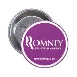 El logotipo de Mitt Romney cree en América (púrpur Pin