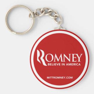 El logotipo de Mitt Romney cree en América (roja) Llavero Redondo Tipo Pin