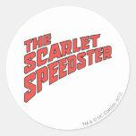 El logotipo de Speedster del escarlata Pegatina Redonda