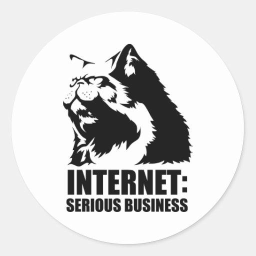 el lolcat el Internet es negocio serio Etiqueta Redonda