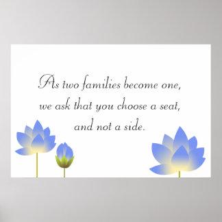 El loto azul florece muestra gris del asiento del  impresiones