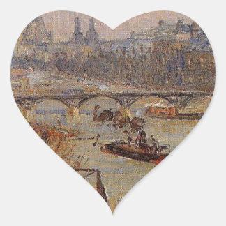 El Louvre de Camille Pissarro Pegatina En Forma De Corazón