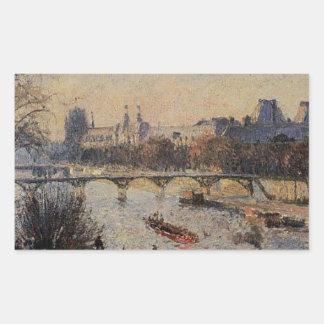 El Louvre de Camille Pissarro Pegatina Rectangular