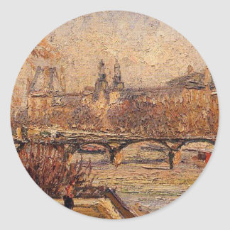 El Louvre, mañana de Camille Pissarro Pegatina Redonda