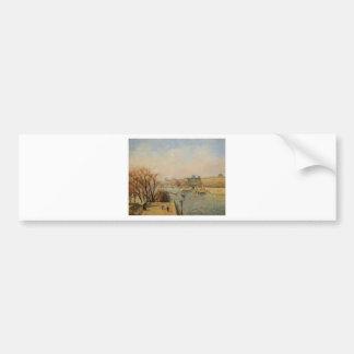 El Louvre, mañana, Sun de Camille Pissarro Pegatina Para Auto