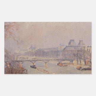 El Louvre, niebla de marzo de Camille Pissarro Pegatina Rectangular