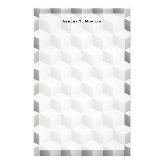 El Lt blanco gris sombreó los cubos de la mirada Personalized Stationery