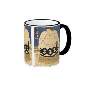 El luchador del sumo, bella arte del japonés de taza de dos colores