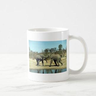 El luchar de los elefantes africanos tazas