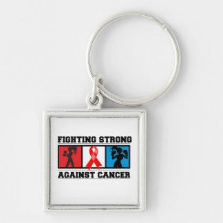 El luchar del cáncer de sangre fuerte llavero cuadrado plateado