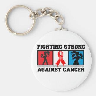 El luchar del cáncer de sangre fuerte llavero redondo tipo pin