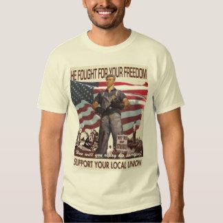 Él luchó para su camiseta de la libertad poleras