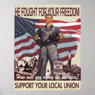 Él luchó para su poster de la libertad
