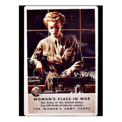 ¡El lugar de la mujer en guerra! Tarjetas Postales