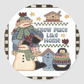 El lugar de la nieve tiene gusto a casa pegatina redonda