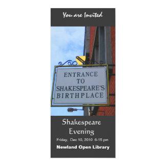 """El lugar de nacimiento de Shakespeare Invitación 4"""" X 9.25"""""""