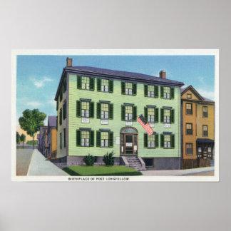 El lugar de nacimiento del poeta Longfellow Posters