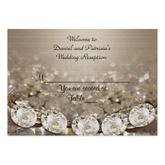 El lugar del boda carda diamantes plantilla de tarjeta de visita