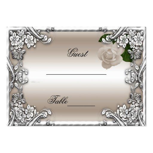 El lugar del boda carda el blanco de plata color d tarjetas de visita grandes