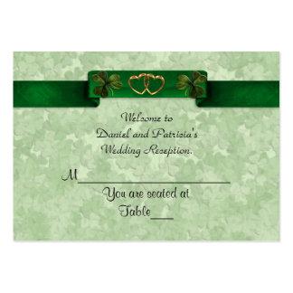 El lugar del boda carda tréboles irlandeses tarjetas de visita grandes