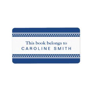 El lunar azul marino, blanco confina el libro del etiqueta de dirección